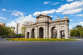 Alcala puerta de is a monument in the independence square in madrid spain Stock Photo