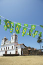 Alcantara brasil white colonial church nordeste with brazilian flag bunting carmo flying over typical simple stone ruins Royalty Free Stock Image