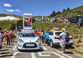 Alcatel one touch car in pyrenees mountains port de pailheres france july during the passing of the publicity caravan on the Royalty Free Stock Image
