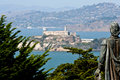 Alcatraz prison san francisco bay as seen from coit tower and the statue of columbus Royalty Free Stock Image