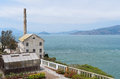 Alcatraz vista overlooking powerhouse or utility house and greenhouse on island in san francisco bay of california pacific ocean Stock Images