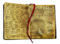 Alchemic book with mystic and fantasy symbols on shabby pages isolated