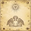 Alchemical drawing: little angel appears from water. Esoteric, mystic, occultism.