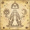 Alchemical drawing: young beautiful woman, Eve`s image, fertility, temptation.