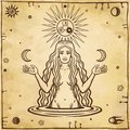 Alchemical drawing: young beautiful woman holds moons in hand.