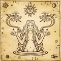 Alchemical drawing: young beautiful woman holds winged snakes in hand. Esoteric, mystic, occultism.