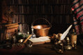 Alchemist kitchen or laboratory halloween scene of a medieval Royalty Free Stock Image
