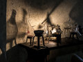 Alchemist workshop ancient s with instruments and equipment Stock Images