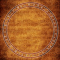 Alchemy background circle with astrological and symbols over medieval text Royalty Free Stock Photos