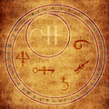 Alchemy circle with astrological and symbols over medieval text Royalty Free Stock Photo