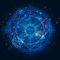 Alchemy magic circle on blue background Royalty Free Stock Photo