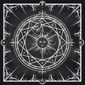 Alchemy magic circle on chalkboard background Royalty Free Stock Photo