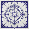 Alchemy magic circle on notebook background Royalty Free Stock Photo
