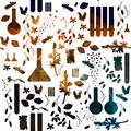 Alchemy or perfume seamless pattern. Chemical pattern of medieval school. Watercolor on white background. Royalty Free Stock Photo