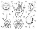 Alchemy spirituality occultism chemistry magic tattoo vector symbols design esoteric and gothic witchcraft and mystery medieval Royalty Free Stock Photo