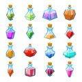 Alchemy witch magic beverage elixir potion poison antidote glass bottle icons set isolated cartoon game design vector Royalty Free Stock Photo