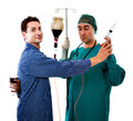 Alchol problem with bizarre doctor Royalty Free Stock Photo