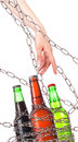 Alcohol abuse concept - beer locked on a chain Stock Image