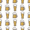 Beer glass vector seamless pattern celebration refreshment brewery oktoberfest background.