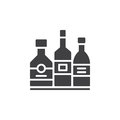 Alcohol beverage bottles icon vector, filled flat sign, solid pictogram isolated on white.