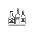Alcohol beverage bottles line icon, outline vector sign, linear pictogram isolated on white.