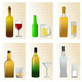 Alcohol bottle and glass Stock Image