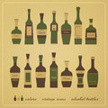 Alcohol bottles new set of vintage style icons of can use like menu design elements Royalty Free Stock Photo
