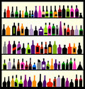 Alcohol bottles on the wall Stock Images