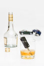 Alcohol and car keys glass of photo isolated on white background Stock Images