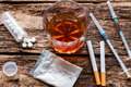 Alcohol, cigarettes and drugs Royalty Free Stock Photo