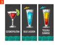 Alcohol cocktail set. Cosmopolitan, blue lagoon and tequila sunrise. Vintage vector engraving illustration for web, poster, menu, Royalty Free Stock Photo