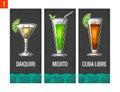Alcohol cocktail set. Daiquiri, mojito, cuba libre. Vintage vector engraving illustration for web, poster, menu, invitation