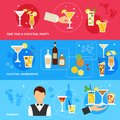 Alcohol Cocktails banner set Royalty Free Stock Photo