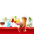 Alcohol cocktails border over white background vector Royalty Free Stock Photos