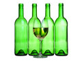Alcohol composition bottle and wineglass Stock Image