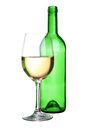 Alcohol composition bottle and wineglass Royalty Free Stock Photo