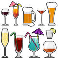Alcohol drink icon set Royalty Free Stock Image
