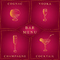 Alcohol Drinks.Bar Menu. Set of Hand-Drawn Wineglasses in Golden Frames. Glasses with Cognac, Vodka, Champagne and Cocktail Royalty Free Stock Photo