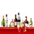 Alcohol drinks border over white background vector Stock Images