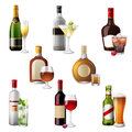 Alcohol drinks and cocktails highly detailed icons of Stock Photo
