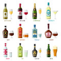 Alcohol drinks icon set. Bottles, glasses for restaurants and bars Royalty Free Stock Photo