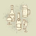 Alcohol Drinks Icons Set Royalty Free Stock Image