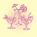 Alcohol Drinks Icons Set Stock Photos