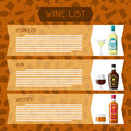 Alcohol drinks menu or wine list. Bottles, glasses for restaurants and bars Royalty Free Stock Photo