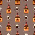Alcohol drinks seamless pattern beverages cocktail bottle drunk glasses vector illustration.