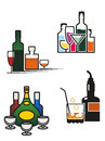 Alcohol drinks set symbols and elements for bar or pub menu design Royalty Free Stock Images
