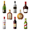Alcohol drinks shiny icons Stock Image