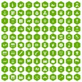 100 alcohol icons hexagon green