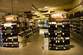 Alcohol liquor store a huge collection of alcohols wines brandy and other drinks in a supermarket Stock Images