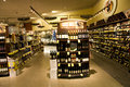 Alcohol liquor store a huge collection of alcohols wines brandy and other drinks in a supermarket Royalty Free Stock Images